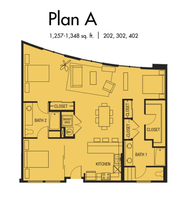 Plan A1 - 1,257 to 1,348 SqFt