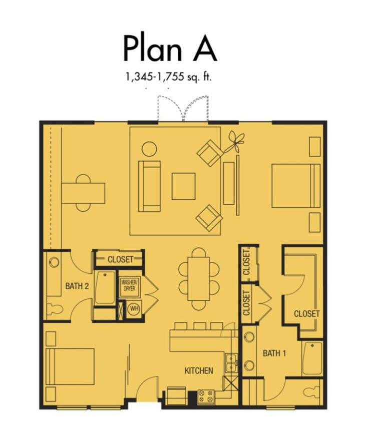 Plan A2 - 1,345 to 1,755 SqFt