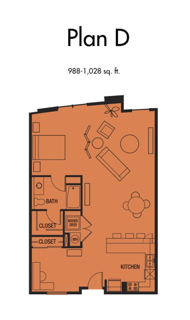 Plan D1 - 988 to 1,028 SqFt