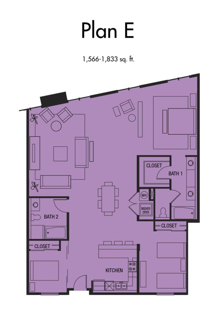 Plan E - 1,566 to 1,833 SqFt